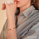 手鐲女鍍玫瑰金簡約百搭小眾刻字鈦鋼手環手飾品 花樣年華