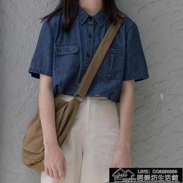 快速出貨 日系深色牛仔襯衫不對稱口袋【2021新年鉅惠】
