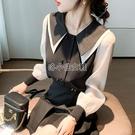 雙層娃娃領上衣雪紡打底襯衫女長袖春秋新款黑白小衫韓范設計感潮 快速出貨