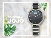 【時間道】NATURALLY JOJO  典雅簡約半陶瓷腕錶 / 黑貝面珠框鑽刻黑陶(JO96924-88F)免運費