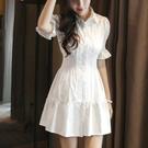 夏裝新款大碼修身顯瘦短袖襯衣洋裝收腰中長款白色襯衫裙 聖誕節全館免運