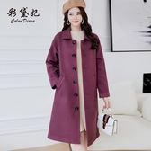毛呢外套  新款韓版寬松純色毛呢外套中長款時尚女呢子大衣