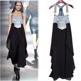 現貨MLXL中大尺碼牛仔裙拼接洋裝連身裙長裙背帶裙歐美MB040-A.5019牛仔部份偏深藍