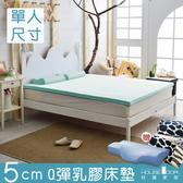 House Door 大和抗菌表布 5cm乳膠床墊全配組-單人3尺水湖藍