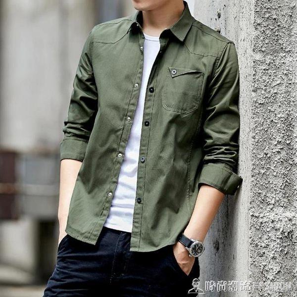 秋冬季男士修身純棉長袖襯衫韓版加絨加厚牛仔襯衣休閒外套寸衫潮 時尚潮流