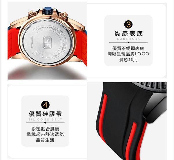 【美國熊】國民男錶 品味時尚 運動賽車風格 男士真三眼計時 日期窗顯示 腕錶  [MFA-244]