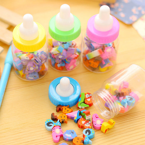 【BlueCat】彩色奶瓶罐數字造型橡皮擦