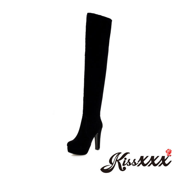 經典純色素絨面高跟過膝長靴 黑 *KissXXX*