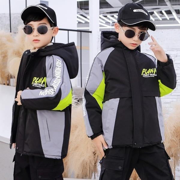 派克服中大童韓版外套羽絨服 兒童棉服加絨夾克外套 男孩羽絨外套男童外套 洋氣秋冬男寶寶棉衣
