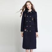 中大尺碼~刺繡拼接雙排扣大衣外套(L~5XL)