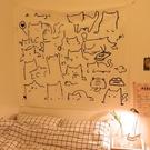 可愛貓咪背景布網紅房間床頭布ins民宿裝飾背景墻掛布少女心掛毯微愛