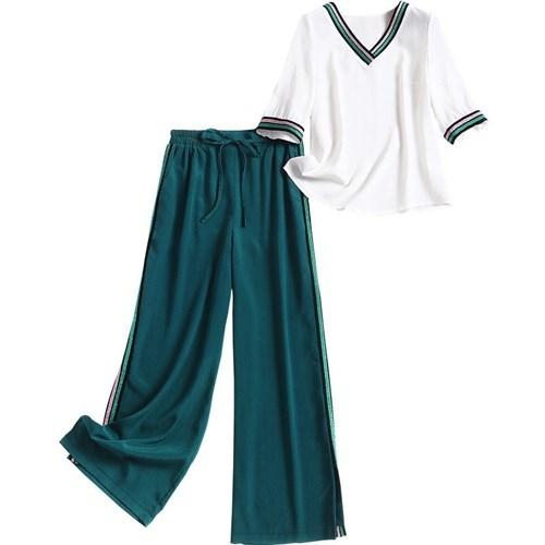 短袖套裝(兩件套)-V領T恤長版闊腿褲女褲子73yd3[時尚巴黎]