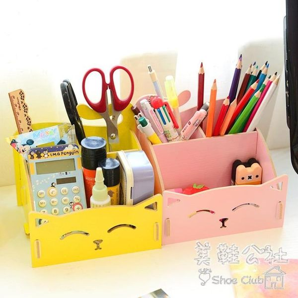 創意家居可愛貓咪收納盒桌面木質化妝品雜物整理 BS18638 『美鞋公社』