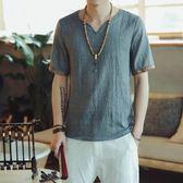 短袖夏裝中國風亞麻 短袖t恤男加肥加大碼v領半袖韓版潮流棉麻料上衣服 歐美韓