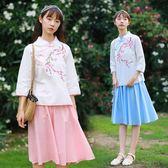 短袖裙裝 學生民國風小清新棉麻刺繡七分袖立領上衣 半身裙兩件套