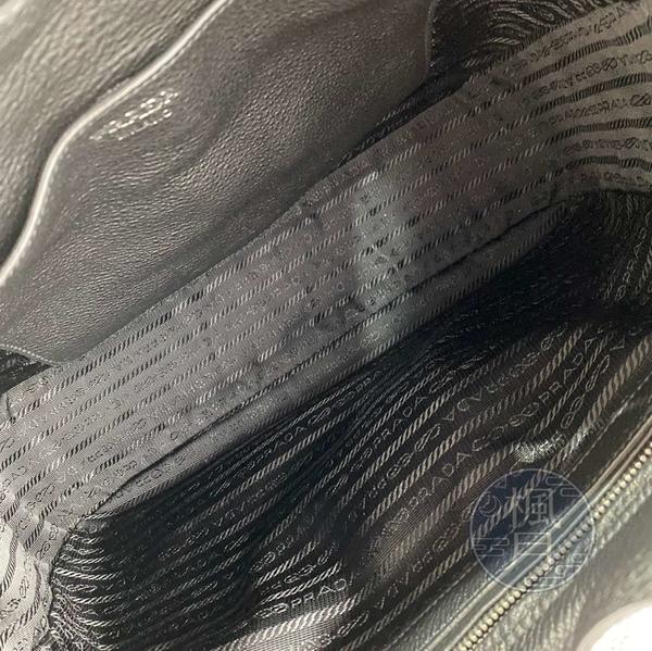 BRAND楓月 PRADA 普拉達 素色 黑色 皮革 皮質 單肩背 肩背包 HOBO