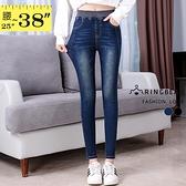 窄管褲--高彈力顯瘦刷色鬆緊褲頭包覆超彈性美腿窄管牛仔褲(黑.藍S-5L)-N80眼圈熊中大尺碼◎