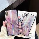 【R】奶白機理 紋理 極光 大理石 鋼化玻璃背板 手機殼 蘋果 iPhone 8 plus Xs Max 全包邊軟殼