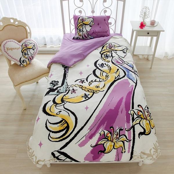 日本 迪士尼【長髮公主】公主系列 床包3件組 單人兒童小孩嬰兒房【小福部屋】