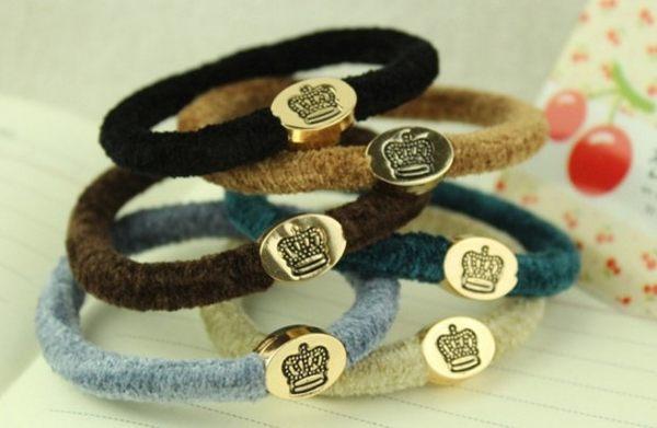 [協貿國際]  韓版金扣皇冠高品質髮飾髮圈 (5個價)