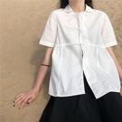 日系短袖白色衬衫女夏季薄款复古港风宽松显瘦衬衣设计感小众上衣