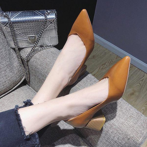 尖頭高跟鞋韓版時尚淺口單鞋女秋季新款簡約套腳百搭粗跟女鞋   可然精品