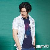 BIG TRAIN  日式印花短袖襯衫-男-白色