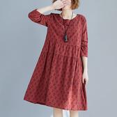 棉麻 小碎花印花氣質洋裝-中大尺碼 獨具衣格 J2445