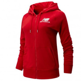 New Balance 女裝 外套 連帽 休閒 經典 基本款 LOGO 紅【運動世界】AWJ91524REP