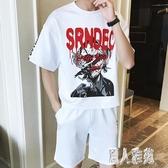 大尺碼運動套裝夏季短袖短褲男士休閒兩件套韓版寬鬆大碼跑步服套裝 DJ9781『麗人雅苑』