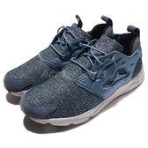 【五折特賣】Reebok 休閒慢跑鞋 Furylite GW 藍 灰 潑墨 刷毛設計 男鞋【PUMP306】 AQ9674