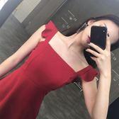 連身裙 韓版氣質Chic風夏季新款性感荷葉邊吊帶連衣裙女高腰修身方領短裙