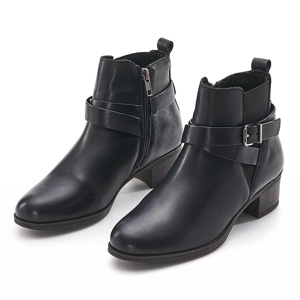 G.Ms. MIT系列-交叉皮帶牛皮側拉鍊低筒低跟靴-黑色