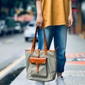 帆布手提包-撞色植鞣皮復古托特包男女單肩包2色73xo41【時尚巴黎】