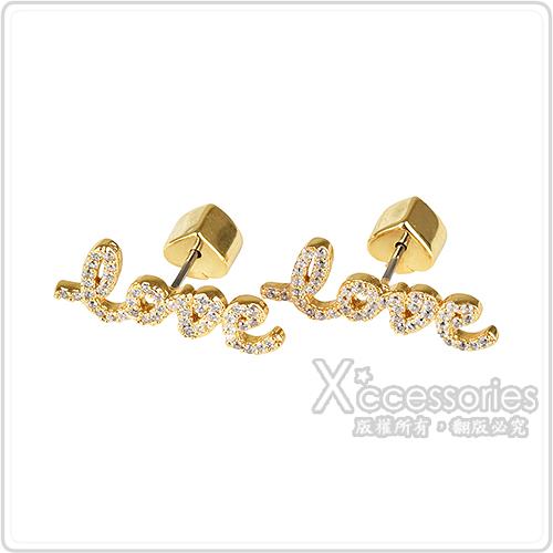 kate spade Say Yes LOVE黑桃LOGO戀愛文字設計鑽鑲飾穿式耳環(金x白)