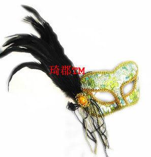 COS 威尼斯羽毛紫色複合布面具