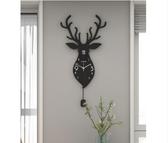 北歐鹿頭鐘表掛鐘客廳家用創意時尚個性掛表現代大氣裝飾靜音時鐘JD聖誕交換禮物