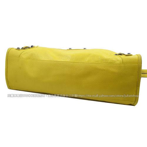 茱麗葉精品 二手精品【8.9成新】BALENCIAGA 巴黎世家 115748 THE CITY兩用機車包.黃 色號7260