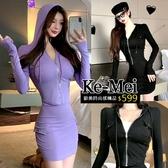 克妹Ke-Mei【ZT62517】逆齡少女 立體軍風口袋短裙+修身連帽外套套裝