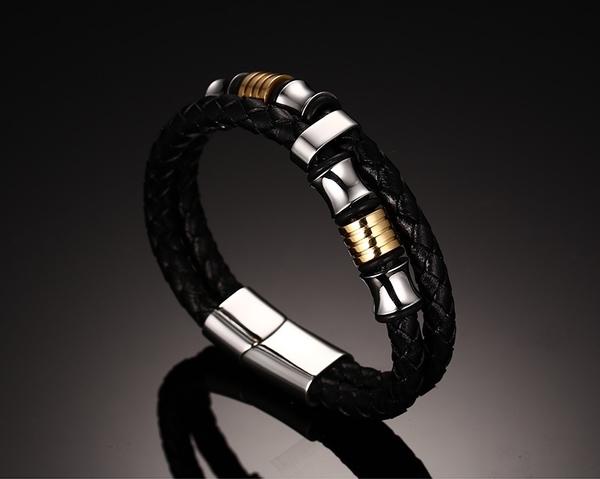 雙環編織 個性手環 手鍊 316精鋼 生日禮物 聖誕節禮物 沂軒精品 F0032