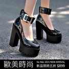 克妹Ke-Mei【ZT65328】2021初春歐洲站亮皮美踝金屬皮釦粗跟高跟鞋