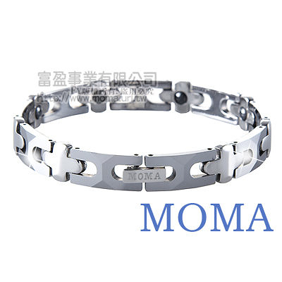 【MOMA】鎢鋼鍺磁手鍊十字寬版-M85M
