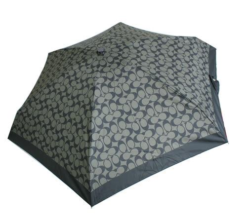 【COACH】經典CC LOGO 摺疊晴雨傘(黑灰/黑)