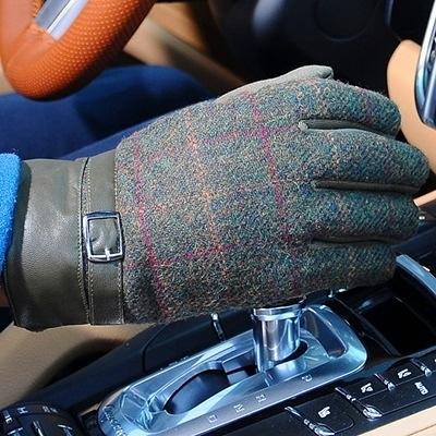 針織羊毛觸控手套-商務休閒方格防滑防寒保暖男手套72q29【巴黎精品】