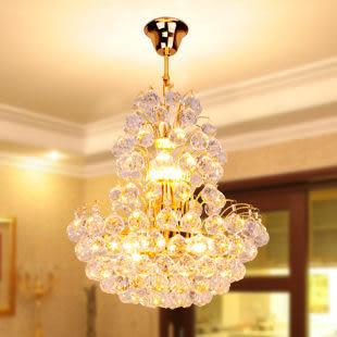 設計師美術精品館燈具復式樓發財樹客廳燈 臥室燈 金色圓形純K9餐廳水晶吊燈6070