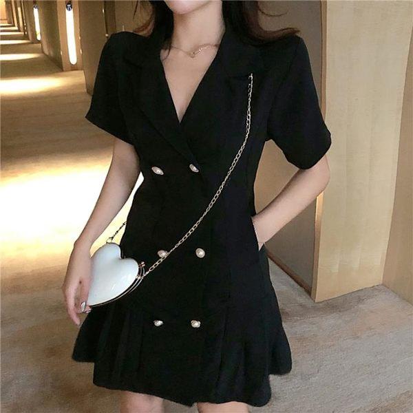夏季2019新款韓版chic氣質西裝領連衣裙女雙排扣短袖時尚百褶裙潮