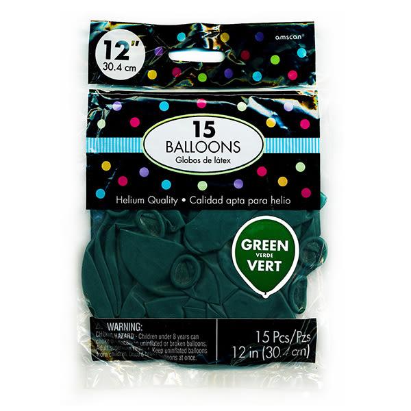 12吋乳膠氣球15入-森林綠