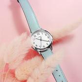 TIMEX 天美時 / TXTW2R62900 / 美國品牌 小巧女伶 INDIGLO專利冷光照明 真皮手錶 白x水藍 30mm