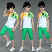 男童夏裝2019新款套裝中大童夏季童裝兒童短袖兩件套男孩洋氣潮-Ifashion