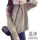 EASON SHOP(GU8715)韓版純色刷毛加厚加絨高領毛衣羅紋針織長袖上衣女上衣服落肩內搭衫短版紅色綠色